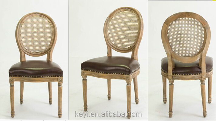 Dining Room Furniture Use Rattan Back Restaurant Chair Round Leather Wooden Ch 211 3 High