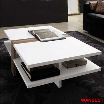 Waterproof White Rectangle Marble Top Coffee Afternoon Tea Table