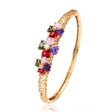 50983 xuping 18k gold plated fresh bangle with multi stones flower shape