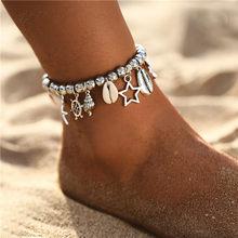Женские браслеты с кулоном в виде звезд 2019, женские браслеты с каменными бусинами в форме раковины, богемные браслеты на ножках, украшения в ...(Китай)