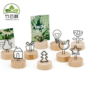 Wooden Base Place Card Holders Rustic Iron Wire Picture Picks Clip Party Decoration Card Holders Picture Memo Note Photo Clip