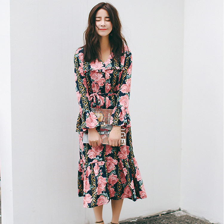 2017 spring retro V-neck flower printing pressure folds lace waist long sleeves dress