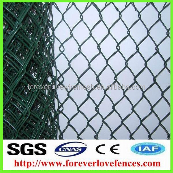 China privacy slats 11.5 gauge galvanized chain link fabric/plastic diamond chain link fence