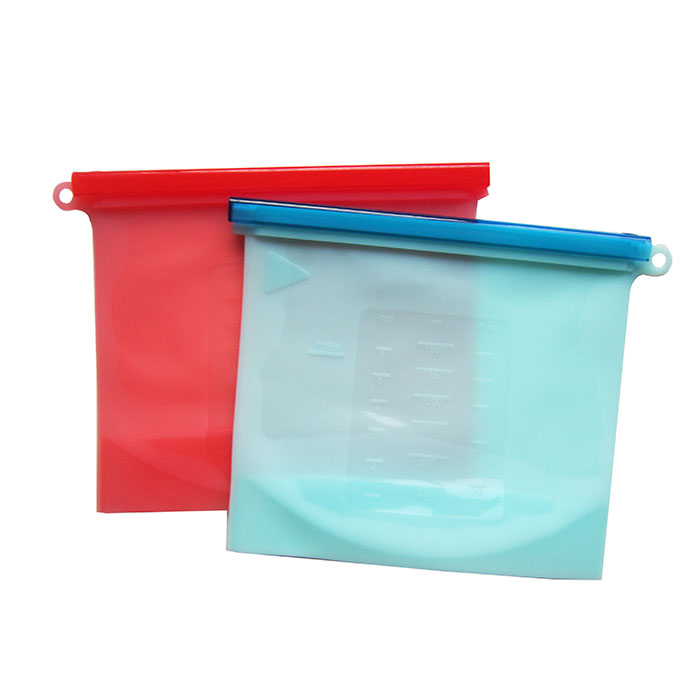 silicone reusable ziplock food storage bag for Kitchen