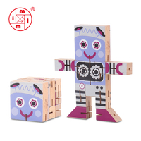 hot selling wooden robot puzzle man for children
