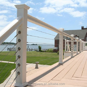 Wire Rope Balustrade / Cable Railing With Stainless Steel Post Or Wood Post