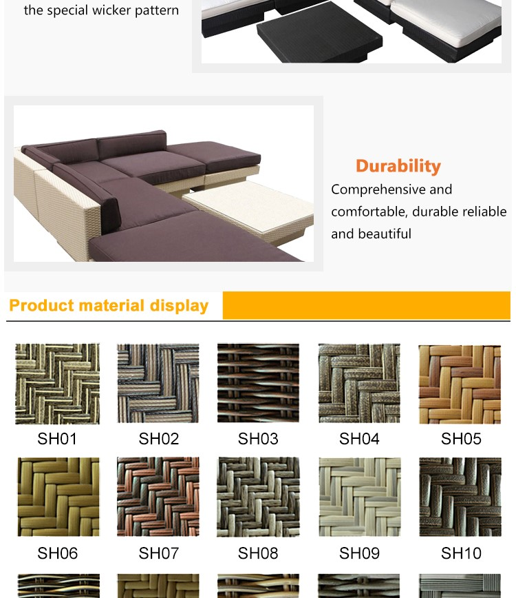 modern style module four seater pe wicker Sofa With table outdoor furniture garden table
