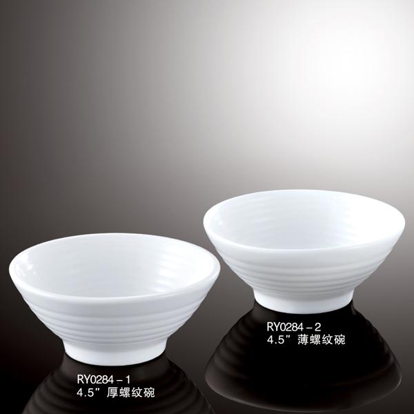 Japanese & Korean style white porcelain ceramic rice & noodle soup threaded bowl