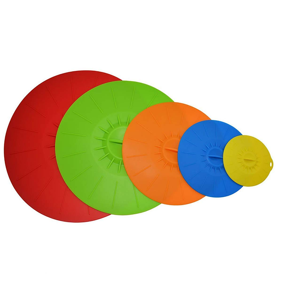 Convallaria 5 Pack Silicone Suction Lids Various Size Reusable Pad Food Containers, Pots, Pans, Salad Bowl Covers (5 Colors)