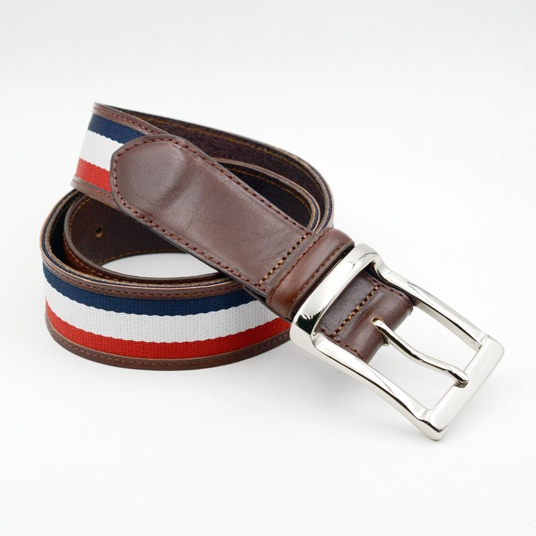 Design leather belt for men with silver buckle