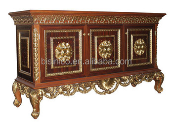 Vintage Style Wooden Sideboard Antique Carving Buffet Luxury Dining Room Painted Decorative Side