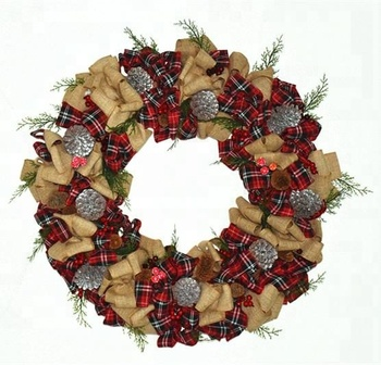 new christmas burlap wreath with pinecones and ribbon for home and holiday decoration 2018 fashion new