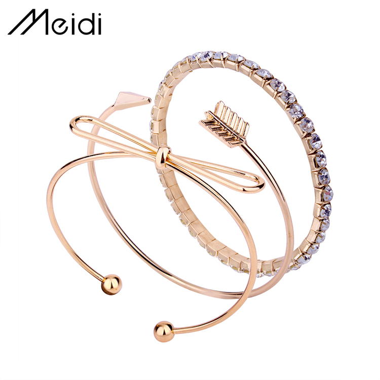 3 PCS Open Round Gold Arrow Bow Knot Adjustable Love Rhinestone Bangle for Women Jewelry