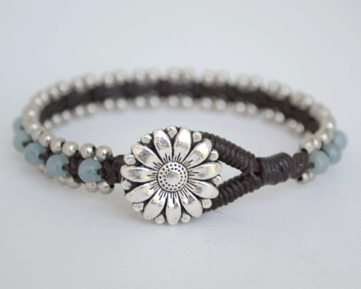 a14a2ee9d8 Get Quotations · Unique Gift For Her, Brazilian Aquamarine Bracelets,  Silver Beads Wrap Bracelets, Flower Button