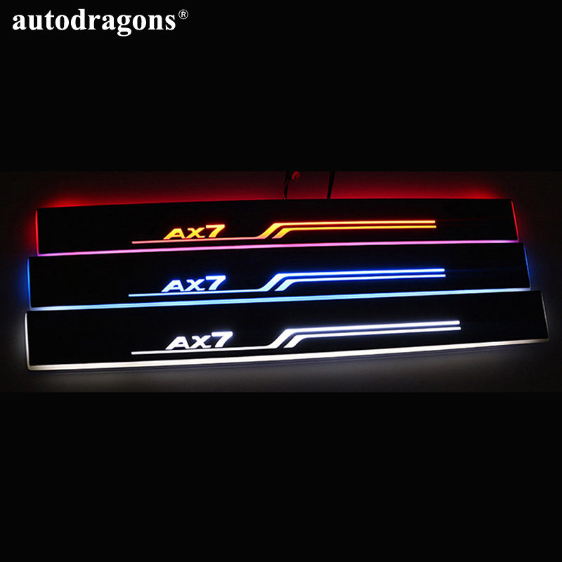 Autodragons 4 doors Led Welcome Acrylic Moving White Wireless Stainless Steel Scuff Plate Car Step Light Custom Led Door Sill