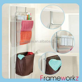 Over Door Bathroom Rack With Hamper And Towel Bar / Bathroom Shelf
