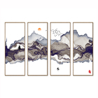 4 pieces Home decor Traditional chinese style ink landscape canvas painting