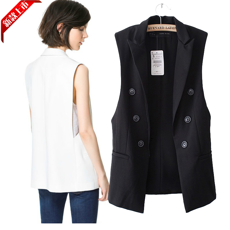 Hoared Women Long Vest Coat Jacket Female Back Split Outwear Casual Vest Coat