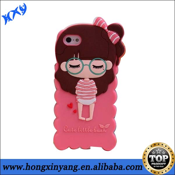 3D Cartoon Cute Little Girl Bush Silicone Gel Back soft Case For iPhone 5 5C 5s