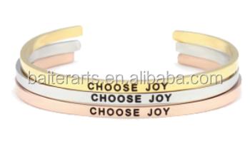 Custom Meaningful Stainless Steel Choose Joy Best Friend Bracelets Whole Sayings Gold Jewelry Cuff Bracelet Women