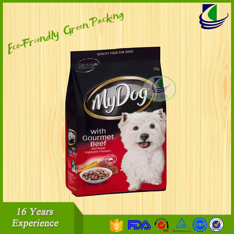 Plastic aluminum foil zip lock stand up pouches for dog food