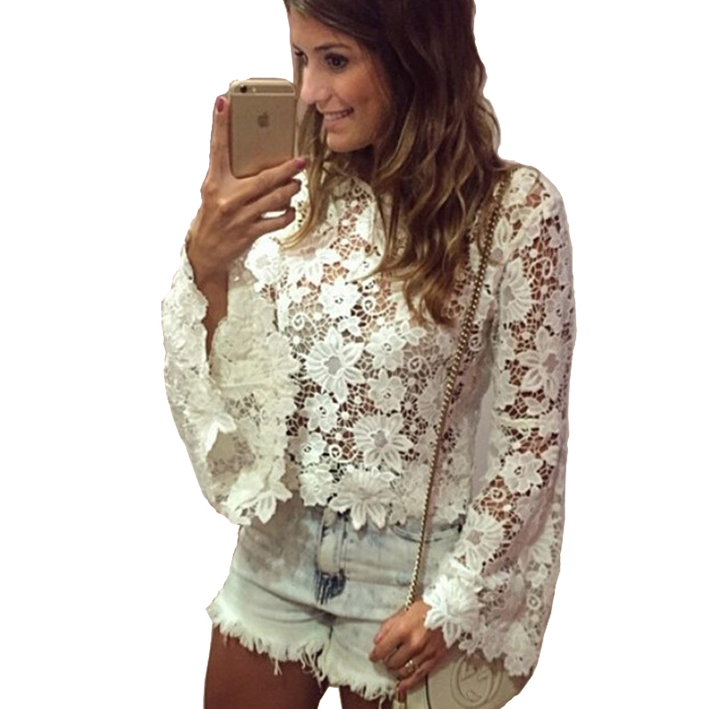 6dff080c0b6 Get Quotations · Lace Crochet White Lace Blouses Women Tops 2015 New  Fashion Plus Size Casual Blusa Feminina Long