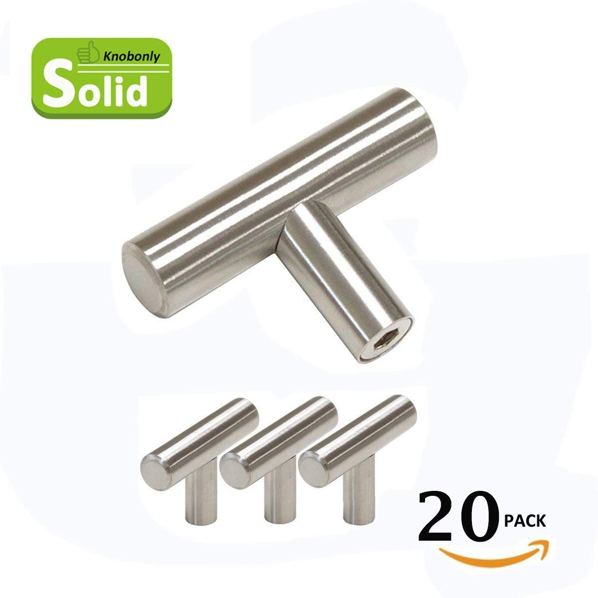 Knobonly 20pc SOLID Stainless Steel, Bar Handle Pull, Fine-Brushed Satin Nickel Finish | Kitchen Cabinet Hardware/Dresser Drawer Handles