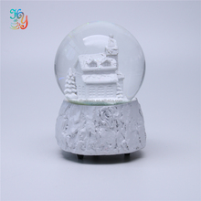 Resin souvenir gifts white glass water globe christmas snow ball