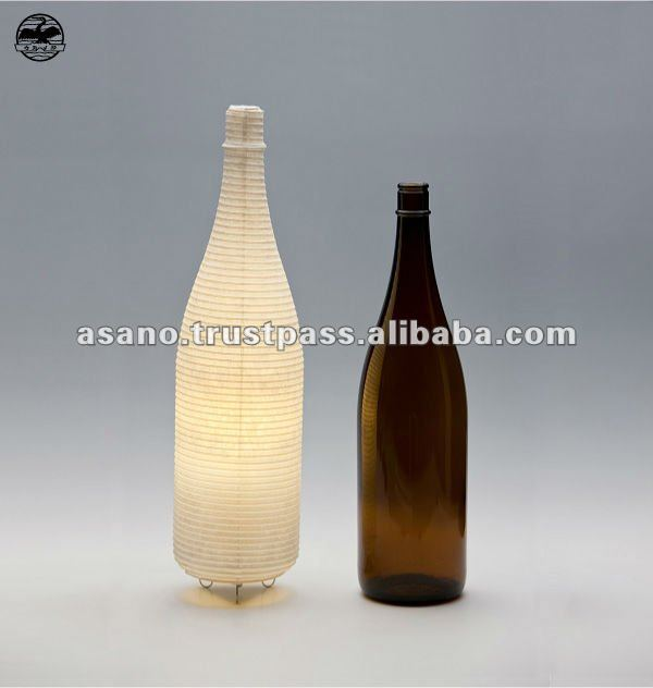 Bottle of the SAKE shaped table lamp. Japanese paper use:Type S 1143(LED Battery light) made in japan