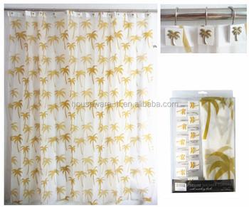 Yellow Palm Tree Shaped Peva Fancy New And Rainbow Shower Curtain