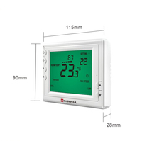 heat mode zoned commercial HVAC system modulating control thermostat for fan coil system