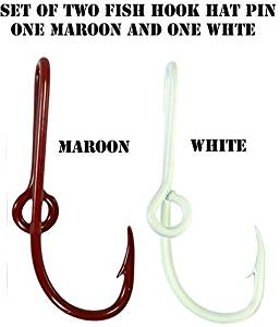 Custom Colored Eagle Claw Team Spirt Colored Maroon/White Hat Fish Hook Pins One Maroon and One White Hat Hook Clip