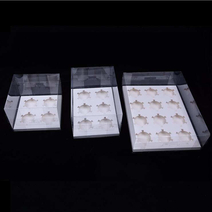 स्पष्ट कप केक बक्से के लिए 4/6/12 मिनी cupcakes पीवीसी डालने के साथ कप केक बक्से स्पष्ट मफिन बक्से
