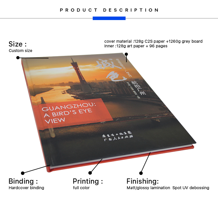 Custom A4 full color printing silver hot stamping hardcover journal bulk photo book printing with thread binding