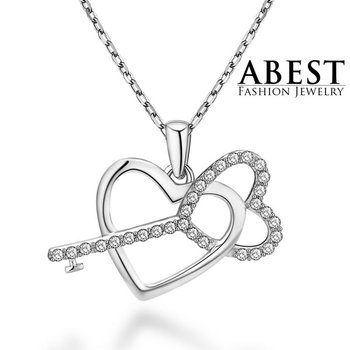 Hot Sale Heart & Key Love Pendant Sterling 925 Silver Plating 18K White Gold Light Weight Elegant Pendant Necklace Jewelry