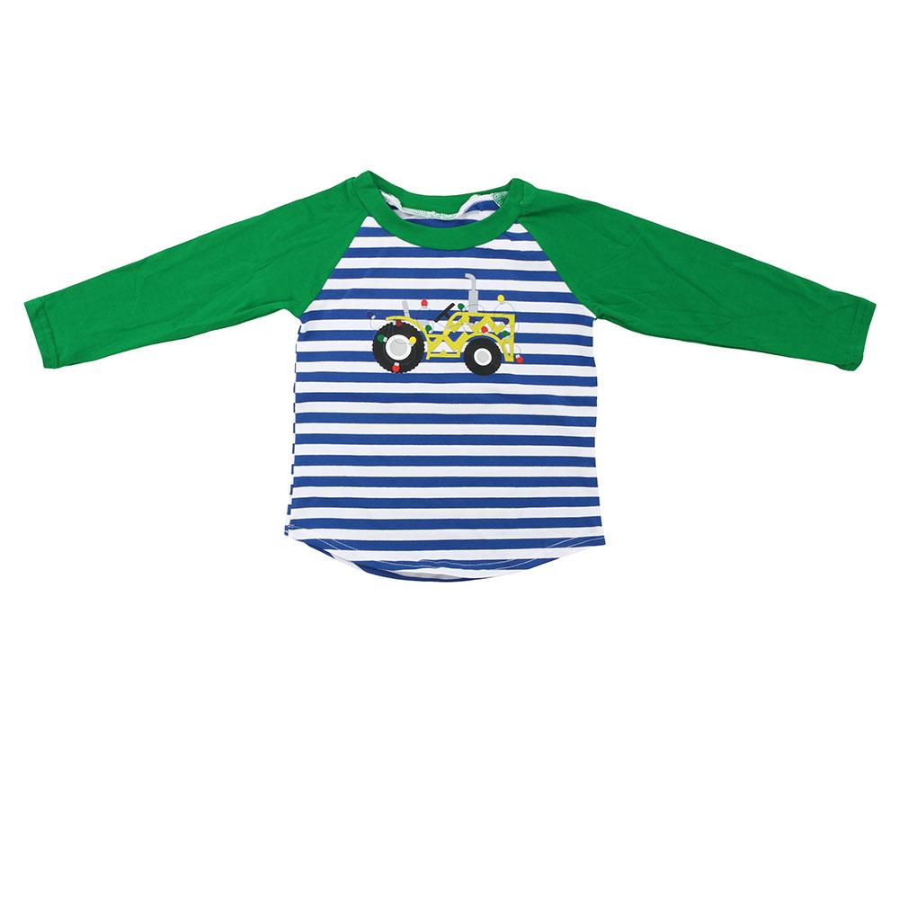 Kinderen Dragen Groothandel Groene Gestreepte Baby Jongens Top