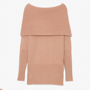 women winter cowl neck mohair off shoulder sweater long sleeve oversized knit dress
