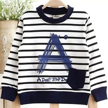 Moleton Infantil 2015 Spring New Fashion Children's Striped Cotton Sweater Baby Boy's Sweatshirt Gray White Navy Blue