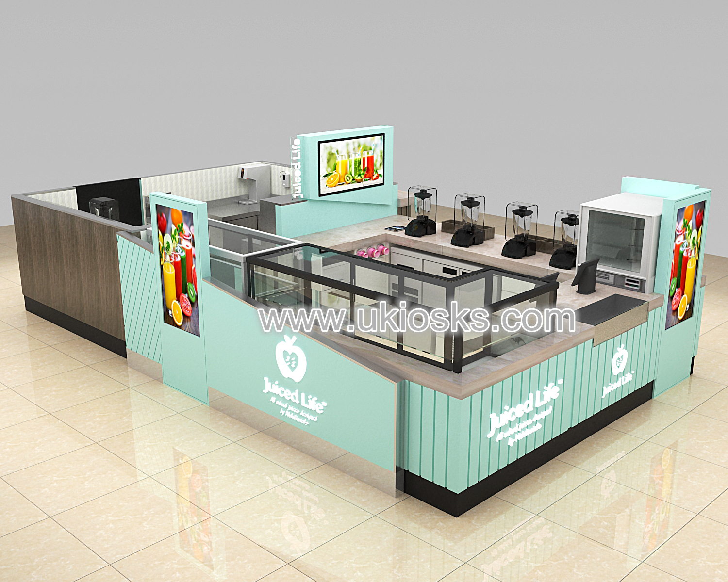 custom Westfield mall juiced life juice bar kiosk for sale