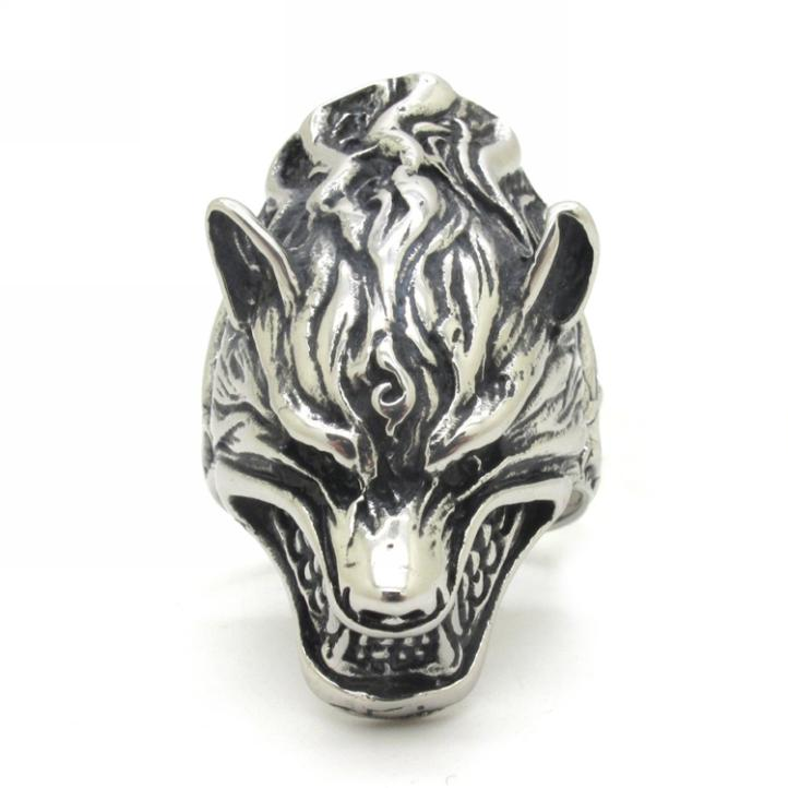 Cool Silver Dragon King Ring, Rock Punk Biker Vintage Style 316L Stainless Steel Black Charm Ring