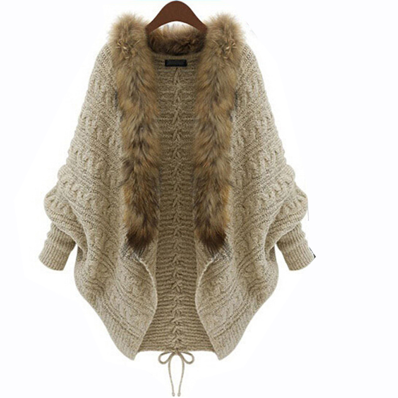d0d1e03b1f1 Get Quotations · Casual Twisted Long Batwing Sleeve Cardigan Sweater Faux  Fur Collar Cardigan Patchwork Knitwear Women LooseFashion Warm