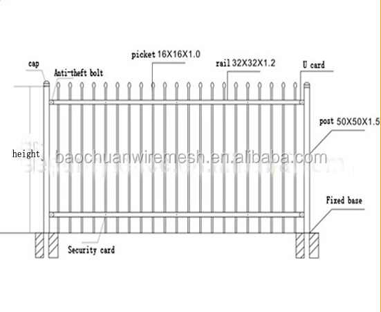 Cheap Metal Vinyl Wrought Iron Fence Used