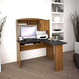 Compact L-shaped Design Desk with Hutch,and Slide Out Keyboard Tray ,Sturdy Construction, in Black & Alder Finish With( 2)shelves and (1)concealed Compartment Perfect for Your Home Office
