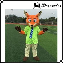 Movie Zootopia nick walking costume, adult fox mascot costume for festival