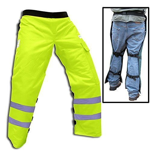 """Forester Chainsaw Safety Chaps with Pocket, Apron Style (Regular 37"""", Safety Green)"""