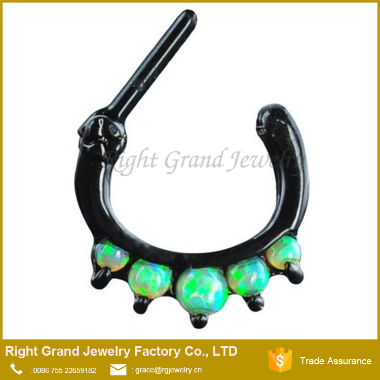 Stainless Steel Black Plated Synthetic Green fire Opal Septum Clicker Nose Ring
