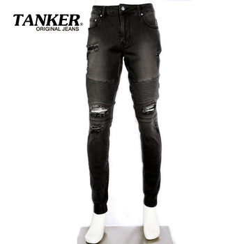 bd9dd0a7b5e Destruido biker denim jogger jeans para hombres personalizado joggers  Vaqueros Hombre