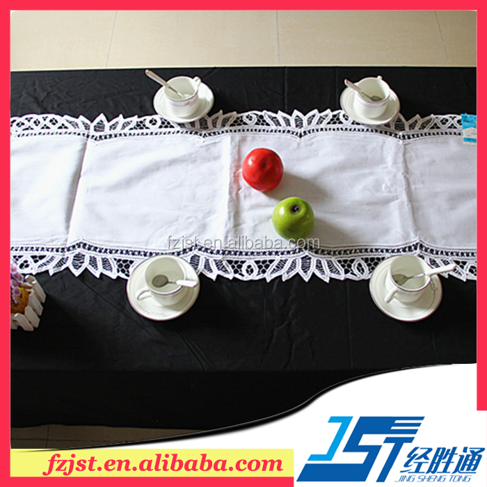Low MOQ white square lace table runners for weddings