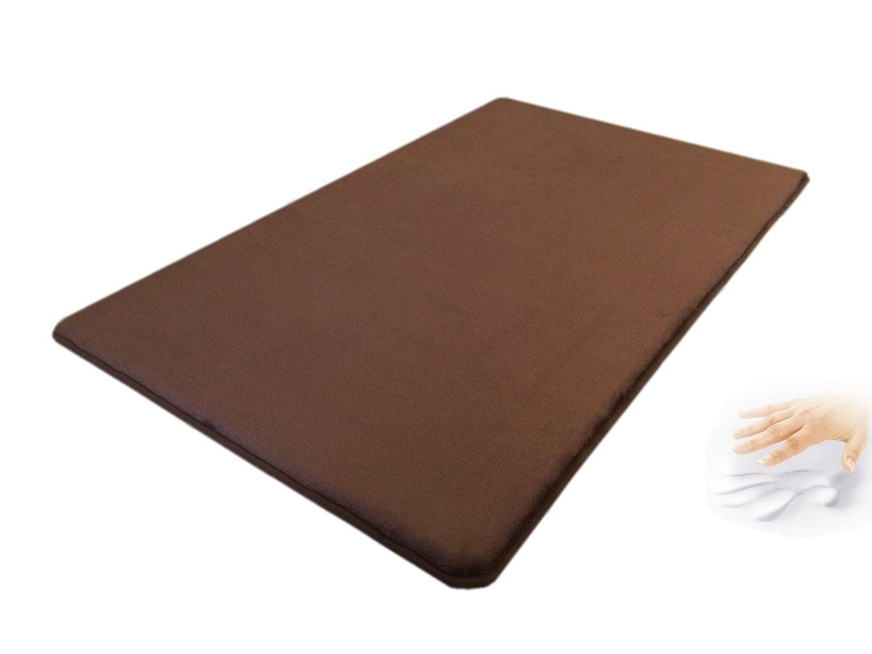 eConsumersUSA 42''x28'' Comfort MicroPlush Brown Luxurious Memory Foam Waterproof Anti Slip Rug Pad Mat for homes, kitchen, baths, bedrooms, pets, activities.