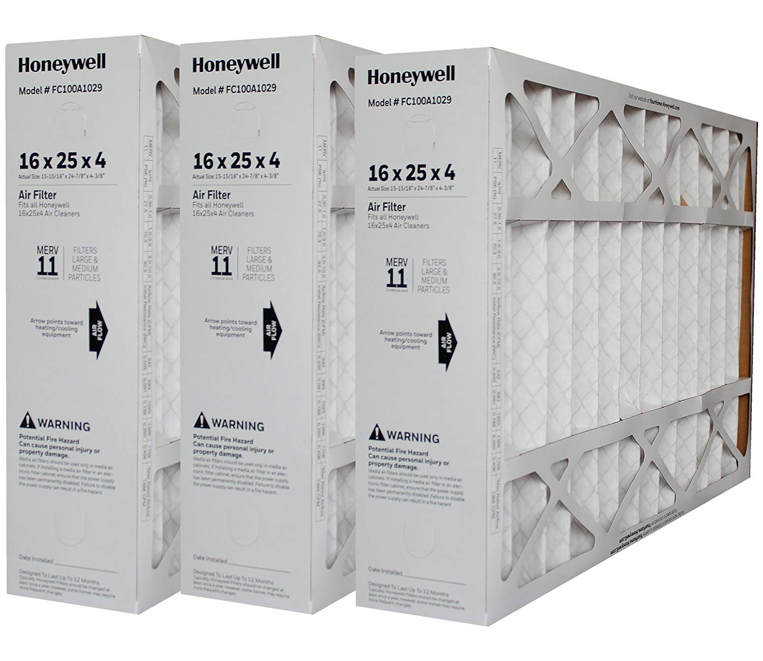 "Genuine Honeywell 16 x 25 Part # FC100A1029 MERV 11 Size 15 7/8"" x 24 3/4"" x 4 3/8"" Case of 3"
